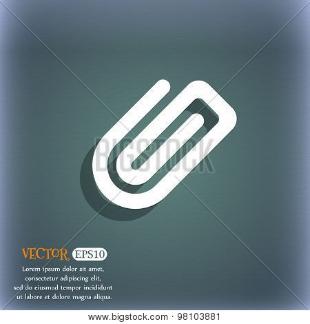 Paper Clip  Icon Symbol On The Blue-green Abstract Background With Shadow And Space For Your Text. V