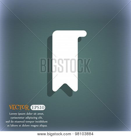 Bookmark  Icon Symbol On The Blue-green Abstract Background With Shadow And Space For Your Text. Vec