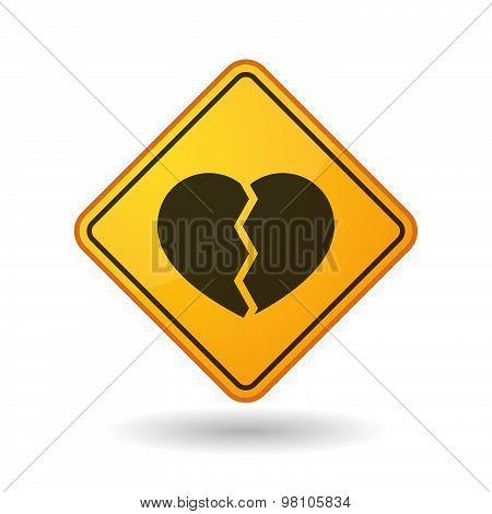 Awareness Sign With  A Broken Heart