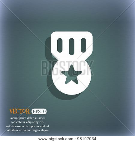 Award, Medal Of Honor  Icon Symbol On The Blue-green Abstract Background With Shadow And Space For Y