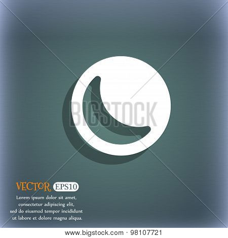 Moon  Icon Symbol On The Blue-green Abstract Background With Shadow And Space For Your Text. Vector