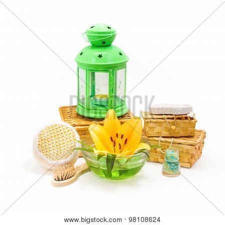 Spa Concept.yellow Lily Flower And Objects For Spa Procedures