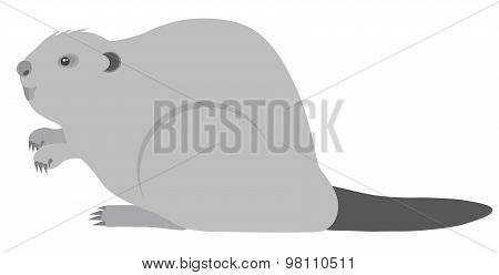 Beaver Grayscale Vector Illustration