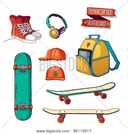 Set things. Street style. Things teenager. All sports skateboarding. Hipster style. Cartoon style. V