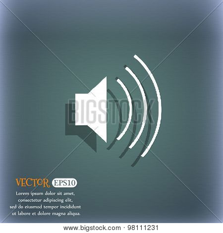 Volume, Sound Icon Symbol On The Blue-green Abstract Background With Shadow And Space For Your Text.