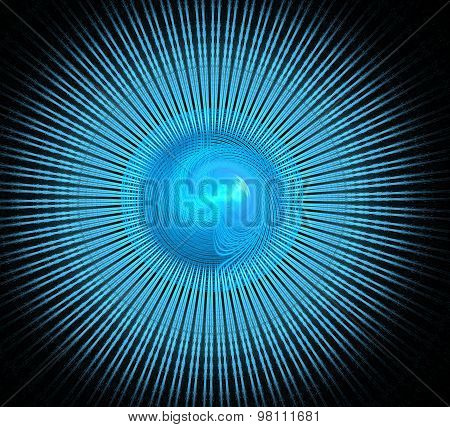 Illustration Background Fractal Blue Spiral In A Circle With Ray
