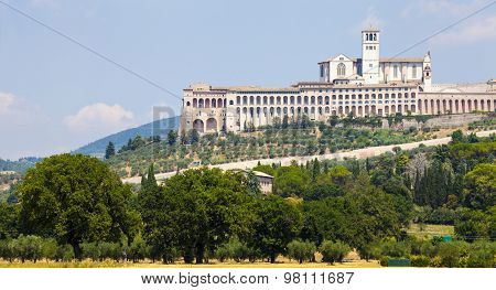 Assisi, Italy. View of the Basilica of San Francesco.