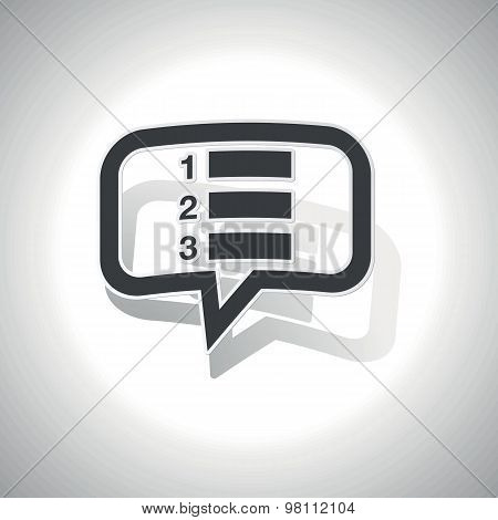 Curved numbered list message icon