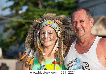 Man And Women Participate In The Full Moon Party On Island Koh Phangan.  Thailand