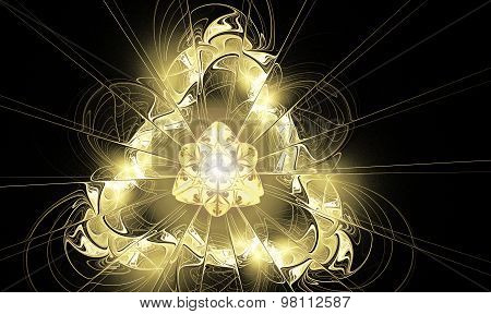 Illustration Background Fractal Glowing Golden Triangle With Ray