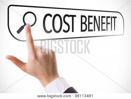 Cost Benefit written in search bar on virtual screen
