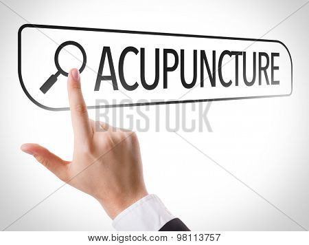 Acupuncture written in search bar on virtual screen