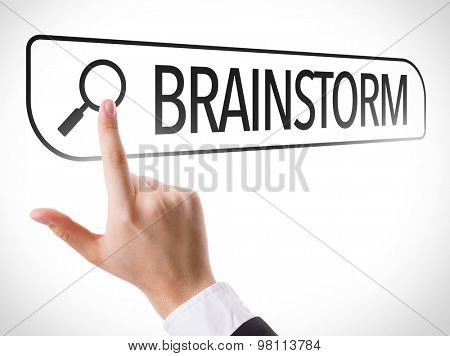 Brainstorm written in search bar on virtual screen