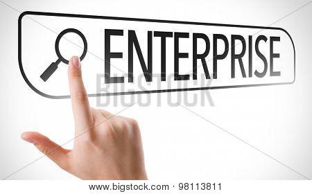 Enterprise written in search bar on virtual screen