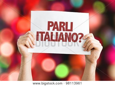 Do You Speak Italian? (in Italian) card with bokeh background