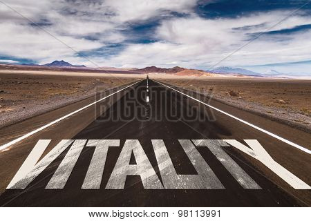 Vitality written on desert road