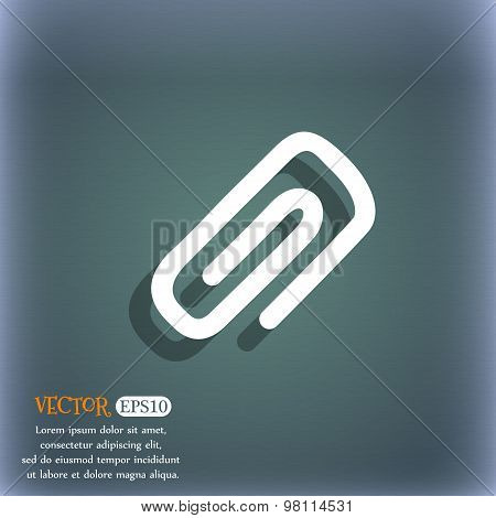 Clip To Paper Icon Symbol On The Blue-green Abstract Background With Shadow And Space For Your Text.