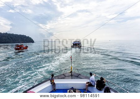 The Ferry Boat At Phi Phi Island Gulf
