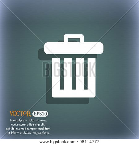 Recycle Bin Icon Symbol On The Blue-green Abstract Background With Shadow And Space For Your Text. V