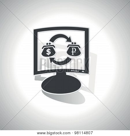 Curved dollar-ruble trade monitor icon