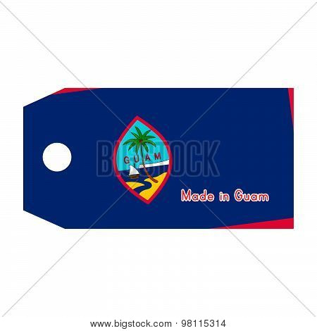 Guam Flag On Price Tag With Word Made In Guam Isolated On White Background.