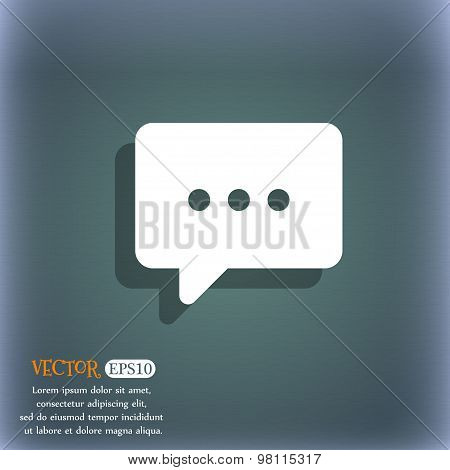 Cloud Of Thoughts Icon Symbol On The Blue-green Abstract Background With Shadow And Space For Your T
