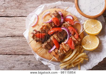 Greek Food: Souvlaki With Vegetables And Pita Bread. Horizontal Top View