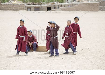 Tibetan Boys Involved In Sports .  Druk White Lotus School. Ladakh, India