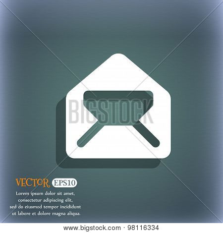 Mail, Envelope, Letter Icon Symbol On The Blue-green Abstract Background With Shadow And Space For Y