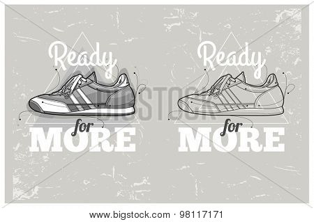 Hipster graffiti sneakers on abstract triangle background. Hand-drawn hipster poster. Vector illustration.