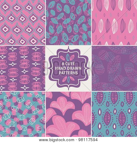 Vector seamless simple pattern set.