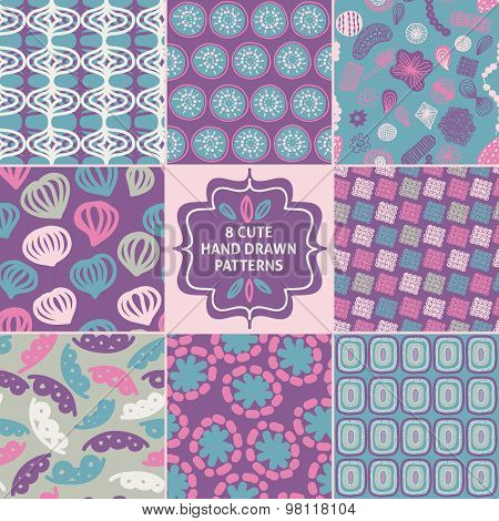 Vector seamless simple pattern set. Modern stylish texture.