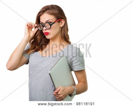 Attractive Woman With Reading Glasses