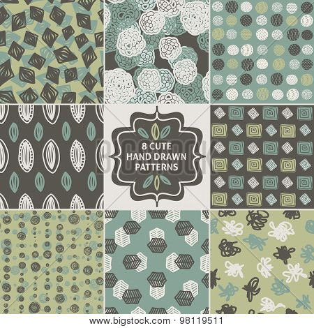 Vector seamless simple pattern set. Repeating abstract backgroun