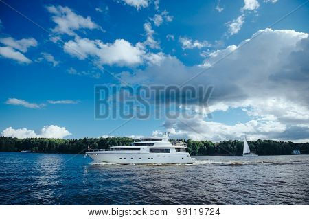 Triple-decker yacht on the lake