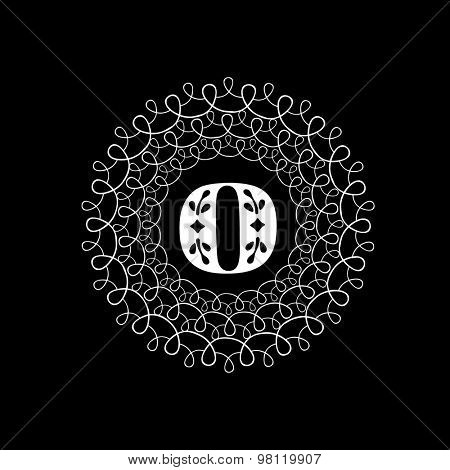 English Alphabet O in a floral frame on black background for premium monogram design.