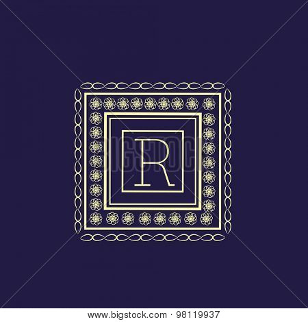 Beautiful floral pattern decorated square shaped frame with English Alphabet R for monogram design on blue background.
