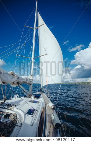 sailing yacht floating on the wind