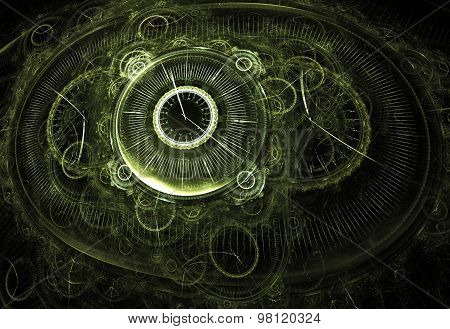 Illustration Fractal Background Clocks And Devices On A Black Gh