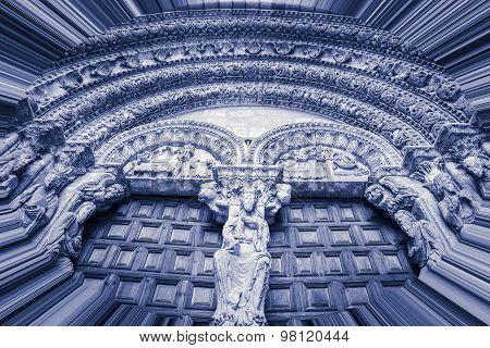blue monochrome - Portico of San Vicente church, Avila Spain