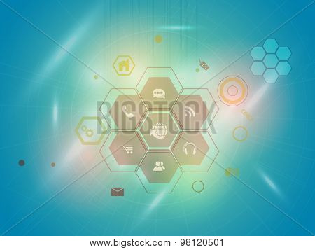 Set of various web icons on shiny blue hi-tech background for Technology concept.