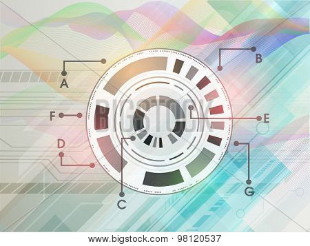 Hi-tech technology circle on abstract colorful waves background.