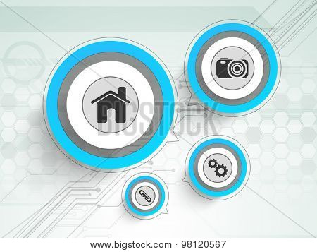 Hi-tech technology background with web icons in rounded frames.