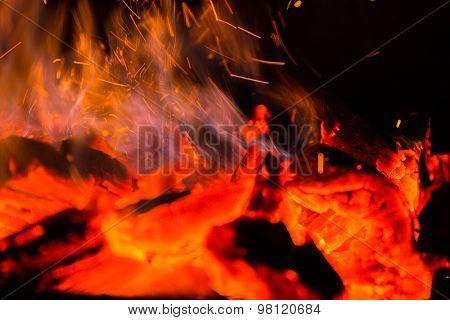 Fire, red-hot coals
