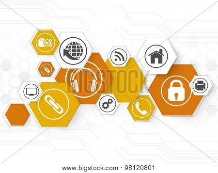 Set of various web icons on hi-tech background for Technology concept.