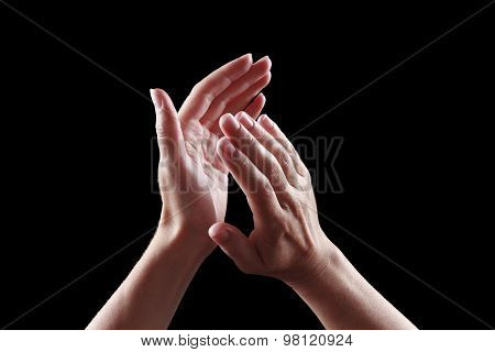 Beautiful Female Hands Isolated On Black Background Applause