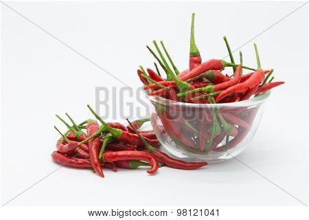Glass bowl of red hot chilli