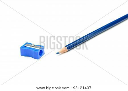 Blue Pencil And A Pencil Sharpener