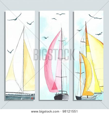 Flyers with watercolor sailboats