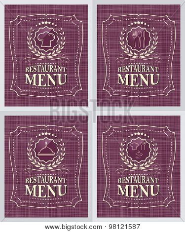 Set of restaurant menu cover design in vintage style